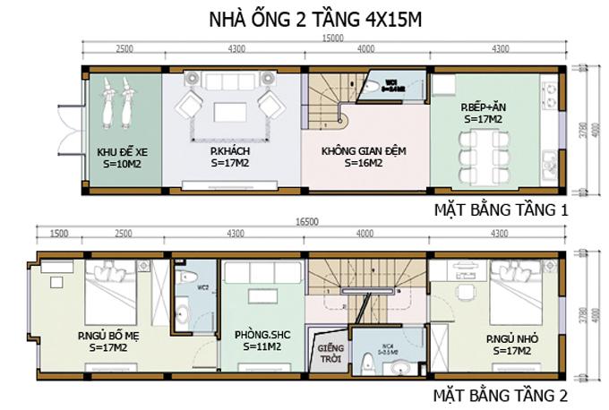 bản vẽ nhà 2 tầng P8